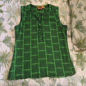 Tory Burch green geometric pattern tunic